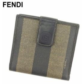 フェンディ FENDI Wホック 財布 小物 財布 サイフ 二つ折り 財布 小物 レディース メンズ ペカン 【中古】 S964
