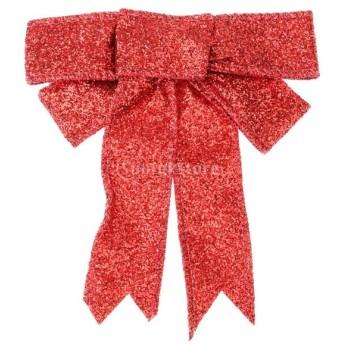ノーブランド品 クリスマスツリーの装飾 クリスマスパーティー 飾り ちょう結び 装飾 レッド ハンギング