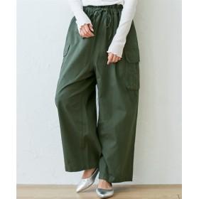 【ゆったりワンサイズ】ウエストタックデザインカーゴパンツ (レディースパンツ)Pants, 子, 子
