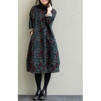 秋冬 ボトミングドレス リブ襟 ゆったりめ コットン 花柄 通勤 女子会 デート