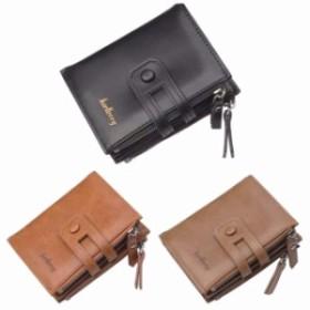 メンズ二つ折り財布 ダブルファスナー レザー 紳士 小銭入れ お札入れ カード収納 ビジネス ブラック ブラウン カーキ