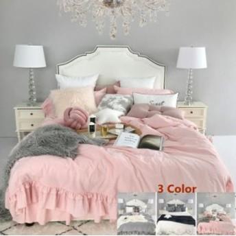 ベッドルーム用品 ベッドカバーセット セミダブル フレア布団カバー 韓国ins 人気品 ベッドカバー 4点セット