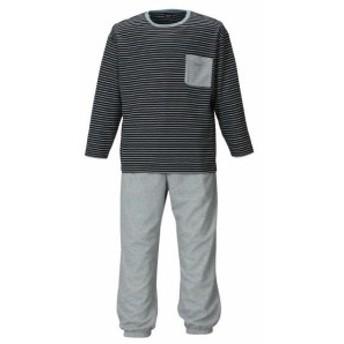 【大きいサイズ】【メンズ】 marie claire homme ダンボールボーダー長袖Tシャツセット ネイビー×モクグレー 1159-9102-2