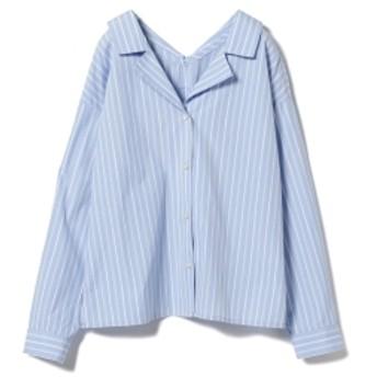 Ray BEAMS / ストライプ オープンカラ― シャツ レディース カジュアルシャツ SAX ONE SIZE