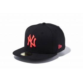 ニューエラ(NEW ERA) 59FIFTY MLB ニューヨーク・ヤンキース ブラック × サンセットオレンジ 11308573