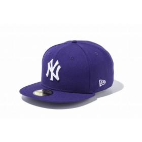 ニューエラ(NEW ERA) 59FIFTY MLB ニューヨーク・ヤンキース パープル × ホワイト 11308548