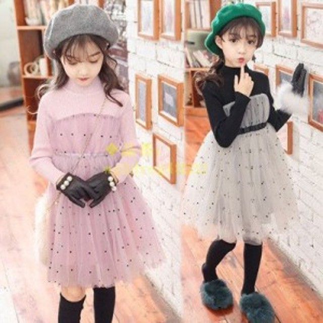 59364735323f0 韓国子供服 女の子 ワンピースドレス 長袖 チュールワンピース ニットワンピース チュール ハイウエスト ワンピース 春