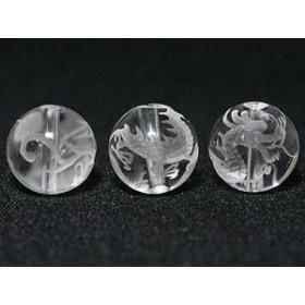 天然石 ビーズ【彫刻ビーズ】水晶 12mm (素彫り) 青龍 パワーストーン