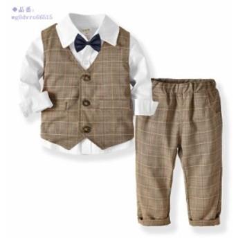 男の子 フォーマル スーツ 赤ん坊 キッズ シャツ 3点セットアップ 長袖 結婚式 ベビー服 祝日ドレス 11色選択 ベスト ズボン 上下セット