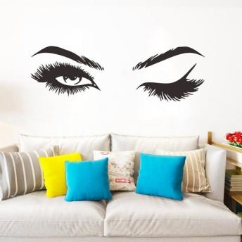 ウォールステッカー ウォールシール ウォールデコレーション 壁紙シール 転写式 ウインク まつげ 瞬き まばたき 室内装飾 壁面装飾 模様替え キズ隠