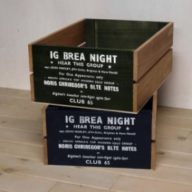 収納ボックス アメリカン 木箱  ネイビー小 /アンティーク/ストッカー BREA