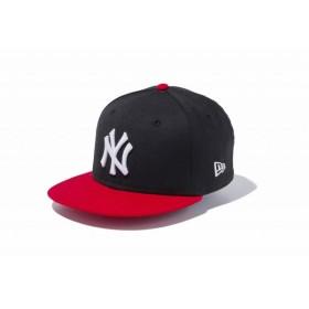ニューエラ(NEW ERA) Youth 9FIFTY ニューヨーク・ヤンキース ブラック × ホワイト スカーレットバイザー 11433965