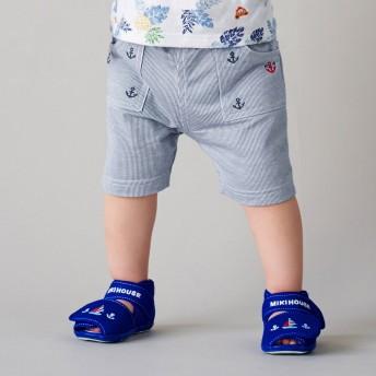 ミキハウス イカリ刺繍 5分丈パンツ ブルー