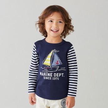 ミキハウス 袖ボーダーマリン風長袖Tシャツ 紺