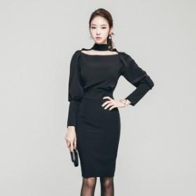 パーティードレス 韓国ワンピース ハイネック ボディコン 黒 ブラック ミニドレス 無地