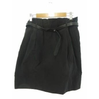 【中古】マカフィー MACPHEE トゥモローランド スカート ミニ 台形 ベルト 38 黒 ブラック /Y2I16 レディース