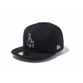 ニューエラ(NEW ERA) 59FIFTY MLB ロサンゼルス・ドジャース ブラック × ブラック ホワイトアウトライン 11434025