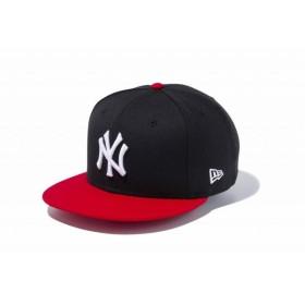 ニューエラ(NEW ERA) 9FIFTY ニューヨーク・ヤンキース ブラック × ホワイト スカーレットバイザー 11433955