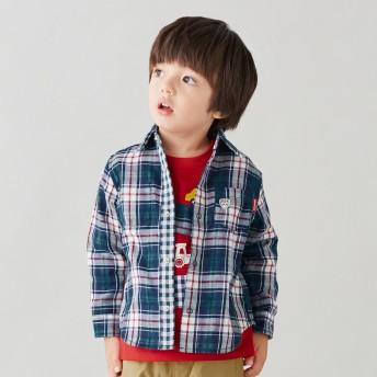 ミキハウス リバーシブルチェックの長袖シャツ 紺