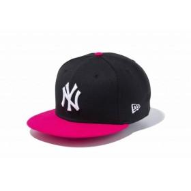 ニューエラ(NEW ERA) 9FIFTY ニューヨーク・ヤンキース ブラック × ホワイト ブライトローズバイザー 11433956