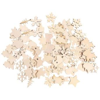 100個 混合 木製 クリスマス形状 クリスマスツリーの装飾 木片 ツリー ベル オーナメント