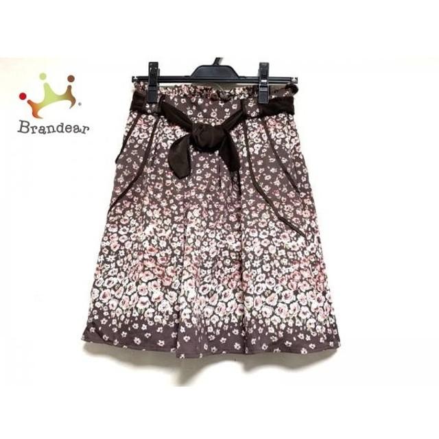 アプワイザーリッシェ スカート サイズ2 M レディース ダークブラウン×ピンク×マルチ 花柄             スペシャル特価 20190523【人気】