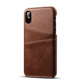 Duckmole 専用ケース IPhone X カバー シンプルなアイ シンプルなアイフォンXケース素敵! カードポヶット付き (ブラウン)