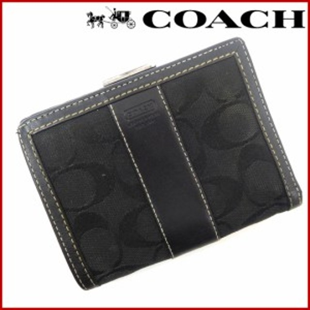 cffef4045e8b コーチ 財布 COACH 二つ折り財布 がま口財布 ブラック (激安・即納) 【中古