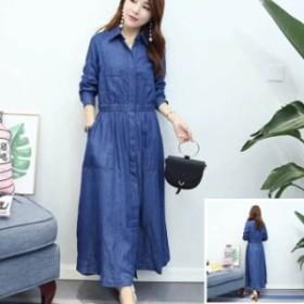 デニムワンピース ロング 大きいサイズ 長袖 春 夏 ワンピース ビックサイズ XL 2XLあります。ネコポス不可商品