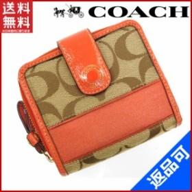 772d46577af5 コーチ 財布 COACH 二つ折り財布 ラウンドファスナー財布 オレンジ×ベージュ 即納 【中古】