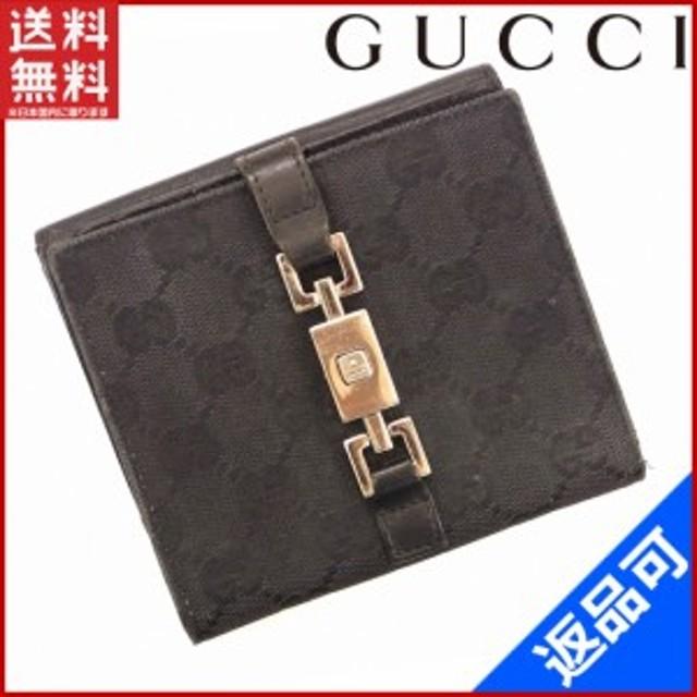 7f6685bd9921 グッチ 財布 GUCCI 二つ折り財布 ジャッキー金具 ブラック 激安 即納 【中古】 X8488