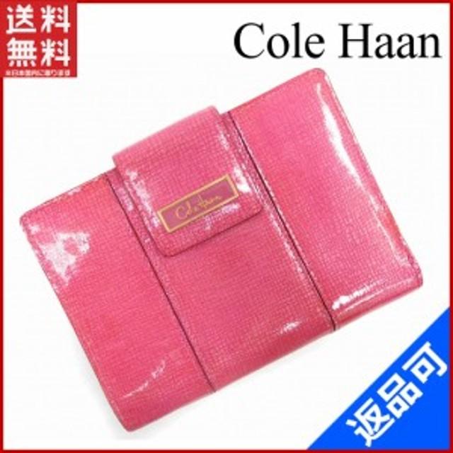 e8203217c865 コールハーン 財布 Cole Haan 二つ折り財布 中長財布 ロゴプレート付き ピンク×