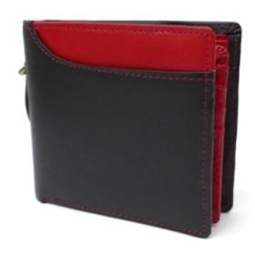ヘルスニット Healthknit 二つ折り財布 黒×赤 ボンテッドレザー(44513)