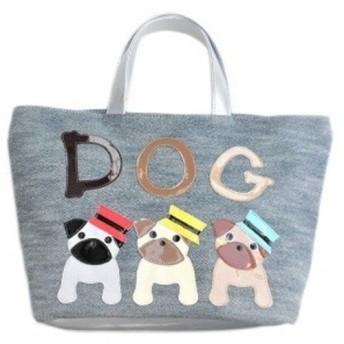 【送料無料】犬柄 トートバッグ パグ グッズ 雑貨 デニム 3匹シリーズ