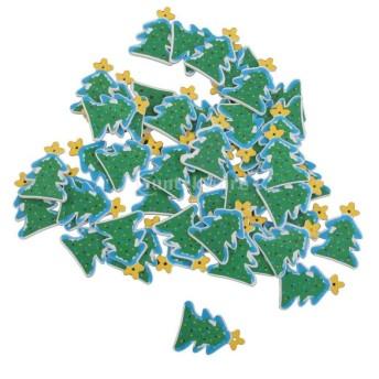 ノーブランド品 クリスマス ツリー 装飾 飾り 小物 飾りつけ ギフト DIY パーティー 木製 クリスマスツリー 50枚