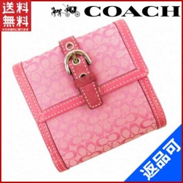 16e0fe4d7aae コーチ 財布 COACH 二つ折り財布 Wホック財布 ピンク 即納 【中古】 X14770