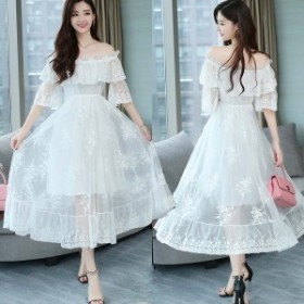 パーティードレス 結婚式 二次会 お呼ばれ ワンピース 袖あり お呼ばれドレス ドレス 20代 30代 40代 オフショル