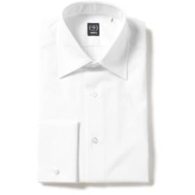 BEAMS F / ブロード セミワイドカラー ダブルカフスシャツ メンズ ドレスシャツ WHITE 39