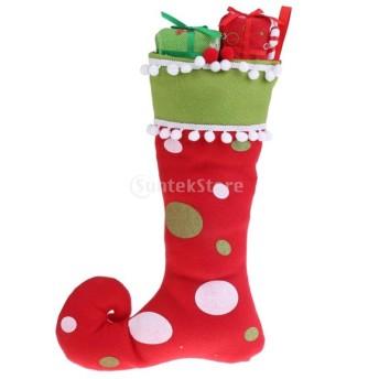 クリスマスツリー 吊り下げ飾り 装飾品 ストッキング 靴下 クリスマスキャンデー袋 キャンディーバッグ 柔らかい 2色選択でき - 赤