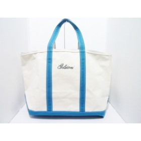 エルエルビーン L.L.Bean ハンドバッグ レディース 白×ブルーグリーン キャンバス【中古】