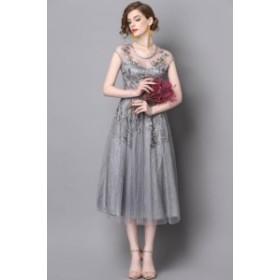 送料無料 パーティードレス エレガント 高級感 結婚式 刺繍 ワンピース 結婚式 ドレス パーティー ロング丈 総レース 731