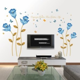 ウォールステッカー ブルーフラワー 蝶々 壁紙シール 北欧 英文字 青い花びら 飾る リビング ダイニング 剥がせる インテリアデカール