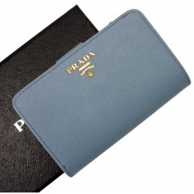 8b31dd040512 【定番人気】【中古】プラダ 二つ折り財布 レディース ブルーxゴールド h20414