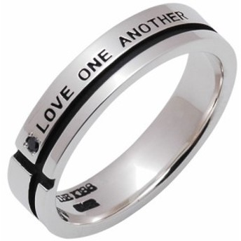 THE KISS シルバー メッセージ ペアリング 【メンズ】 SV925製 ブラックダイヤモンド刻印-LOVE ONE ANOTHER お互いを愛してる きれいな