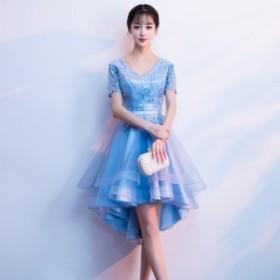 韓国 パーティードレス フィッシュテール Vネック ミニ丈 ワンピース 刺繍 チュール 大きいサイズ 小さいサイズ 2019春新作