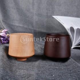 木製手作りコーヒー茶ビールジュースミルクマグドリンク7x8.5cm