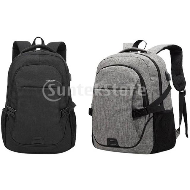 メンズバックパック外付けUSB充電ノートパソコン旅行防水スクールバッグ