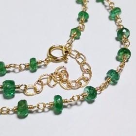 K14GF宝石質ザンビア産エメラルドのネックレス