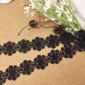 *再入荷*綺麗 お花 ケミカルレース ブレード 黒 BK171004 ハンドメイド 手芸 素材 材料 DIY