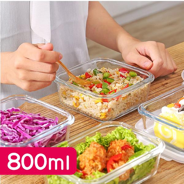 廚房用品 德國技術耐熱400度玻璃密封保鮮盒(800ML)-大 便當盒 萬用 野餐露營 上班送禮【KIN018】收納女王